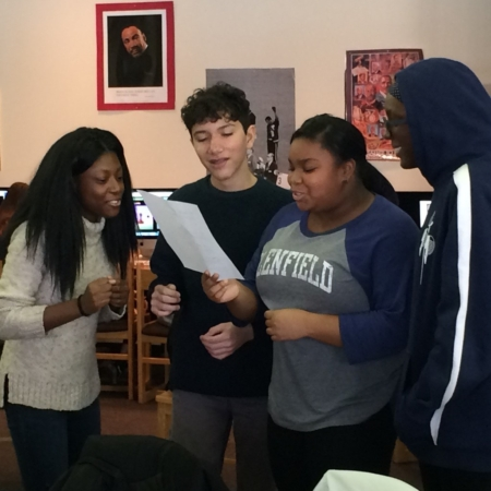 Glenfield Students practice for MLF poetry slam